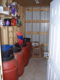 Seperate feed room with feed locked down.  All feeding amounts are posted.