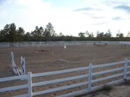 150' x 300' arena with full course of jumps.  The largest private arena locally.