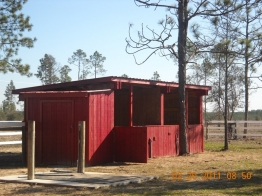 Four stalls with private 30' x 30' runs and seperate tackroom and concrete washrack.
